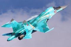 Sukhoi Su-34 av ryskt flygvapen som visas på 100 år årsdag av ryska flygvapen i Zhukovsky Fotografering för Bildbyråer