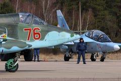 Sukhoi Su-25BM attack airplane of Russian air force during Victory Day parade rehearsal at Kubinka air force base. Stock Photos