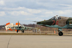 Sukhoi Su-25BM attack airplanes of Russian air force during Victory Day parade rehearsal at Kubinka air force base. stock photo