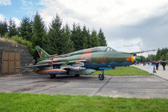 Sukhoi Su-22 Fitter fighter jet aircraft. LAAGE, GERMANY - AUG 23, 2014: Cold war era Eastern German Air Force Sukhoi Su-22 Fitter fighter jet plane on display Stock Photos