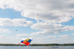 Sukhoi SU-30 Flanker-C, aerobatic team Russian Knights. Russian Aerobatic team show Stock Photos