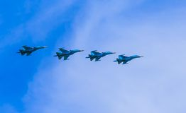 4 Sukhoi Su-34 (Fullback) twin-seat  fighter-bomber aircrafts Royalty Free Stock Photo