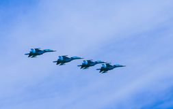 4 Sukhoi Su-34 (Fullback) twin-seat fighter-bomber aircrafts. On rehearsal of parade devoted to 70-th Victory Day aniversary on May 9, 2015 in Moscow Stock Photography