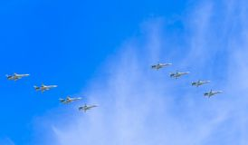 8 Sukhoi Su-24M (fäktare) supersoniska alla-w Royaltyfri Foto