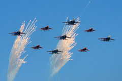 Sukhoi Su-27 and Mikoyan MiG-29 of Russian Air Force during Victory Day parade. Stock Photography