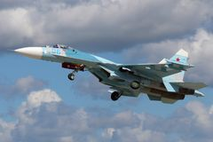 Sukhoi SU-27 RF-RF-95612 of russian air force taking off at Kubinka air force base during Army-2015 forum Stock Photography