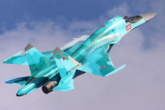 Sukhoi Su-34 of Russian Air Force shown at 100 years anniversary of Russian Air Forces in Zhukovsky. ZHUKOVSKY, MOSCOW REGION, RUSSIA - AUGUST 11, 2012: Sukhoi Stock Image
