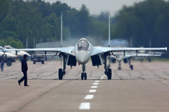 Sukhoi Su-35S jet fighter at Kubinka air force base during Army-2015 forum. KUBINKA, MOSCOW REGION, RUSSIA - JUNE 19, 2015: Sukhoi Su-35S jet fighter at Kubinka Royalty Free Stock Photos