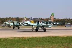 Sukhoi Su-25SM bierze daleko przy Kubinka bazą lotniczą rosyjska siły powietrzne Obraz Royalty Free