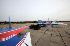 Sukhoi Su-30SM 36 BLUE Russian Knights aerobatics team of Russian air force during Victory Day parade rehearsal. Royalty Free Stock Images