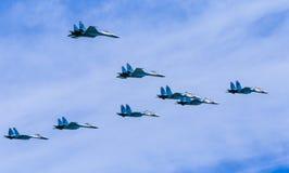 8 Sukhoi Su-30SM (Flanker-C) and Su-35  (Flanker-E) Stock Image