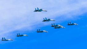 8 Sukhoi Su-30SM (Flanker-C) and Su-35 (Flanker-E) Stock Photography