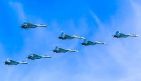 8 Sukhoi Su-30SM (flanker-c) y Su-35 (flanker-e) Fotografía de archivo