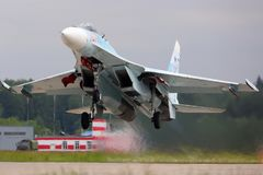 Sukhoi Su-27SM RF-92209 jet fighter of russian air force takes off at Kubinka air force base. Royalty Free Stock Photography