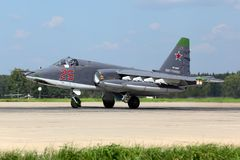 Sukhoi Su-25SM RF-93037 of russian air force taking off after modernization at Kubinka air force base. Stock Photo