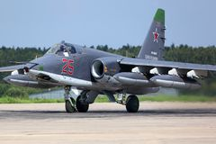 Sukhoi Su-25SM RF-93037 of russian air force taking off after modernization at Kubinka air force base. Stock Photography