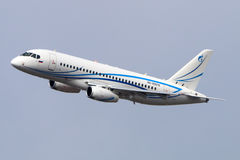 Sukhoi Superjet 100 of Gazpromavia landing at Vnukovo international airport. VNUKOVO, MOSCOW REGION, RUSSIA - JULY 23, 2015: Sukhoi Superjet 100 of Gazpromavia Royalty Free Stock Photo