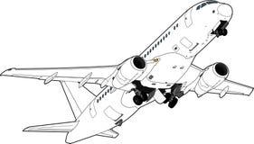 Sukhoi superjet-100 lijnvliegtuig Vector illustratie Royalty-vrije Stock Foto's