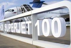 Sukhoi Superjet 100 at MAKS International Aerospace Salon Royalty Free Stock Photo