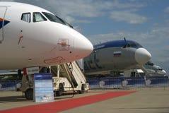 Sukhoi Superjet 100 på den internationella rymdsalongen MAKS-2017 för MAKS Arkivfoto