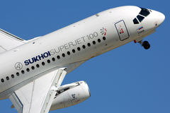 Sukhoi Superjet 100 perfoming demonstration flight in Zhukovsky during MAKS-2015 airshow. ZHUKOVSKY, MOSCOW REGION, RUSSIA - AUGUST 22, 2015: Sukhoi Superjet Stock Photography
