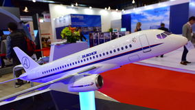 Sukhoi Superjet 100 twin engine regional jet on display at Singapore Airshow Stock Images