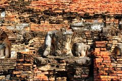 sukhothai статуи руины Будды Стоковое Изображение