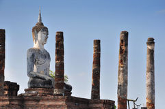 Sukhothai. The old buddha and the pillars at Sukhothai -  Thailand Stock Photography