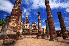 Sukhothai- Ancient temple against blue sky at wat Mahathat Royalty Free Stock Photos
