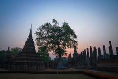 Sukhothai ancient temple. Ancient, temple, sukhothai, thailand, ruin, sunset, silhouette, tree Royalty Free Stock Photo