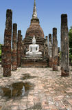 Sukhothai buddha statue temple ruins thailand Royalty Free Stock Photography