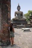 Sukhothai buddha statue temple ruins Thailand royalty free stock photo