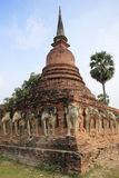 Sukhothai historic park elephant temple thailand Royalty Free Stock Images