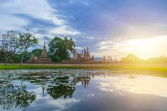 Sukhothai Historical Park Landscape wide angle view at Sukhothai World Heritage Site Royalty Free Stock Photo