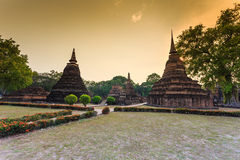 Sukhothai historical park the old town of thailand on sunset Stock Photography