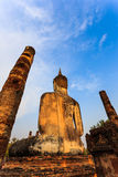 Sukhothai historical park the old town of thailand on sunset Stock Photos