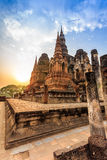 Sukhothai historical park the old town of thailand on sunset Royalty Free Stock Photo