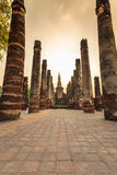 Sukhothai historical park the old town of thailand on sunset Stock Images