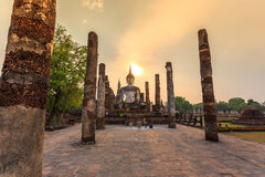 Sukhothai historical park the old town of thailand on sunset Royalty Free Stock Image