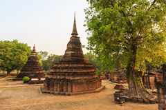 Sukhothai historical park the old town of thailand on sunset Royalty Free Stock Photos