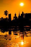 Sukhothai historical park in the sunset, Thailand Stock Image