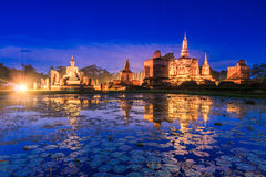 Sukhothai historical park in the sunset, Thailand Royalty Free Stock Photos
