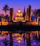 Sukhothai historical park in the sunset, Thailand Stock Photos