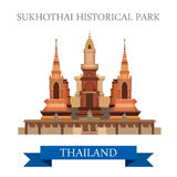Sukhothai Historical Park in Thailand vector flat attraction Stock Image