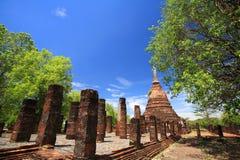 Sukhothai landmark, elephant statues attached on ancient pagoda Stock Images