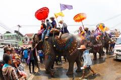 Sukhothai ordination parade on elephant back festival at Hadsiao Temple Royalty Free Stock Photos