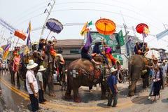 Sukhothai ordination parade on elephant back festival at Hadsiao Temple Royalty Free Stock Image