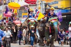Sukhothai ordination parade on elephant back festival at Hadsiao Temple Stock Photography