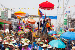 Sukhothai ordination parade on elephant back festival at Hadsiao Temple Stock Photos
