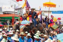 Sukhothai ordination parade on elephant back festival at Hadsiao Temple Royalty Free Stock Photography